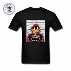 Été naturel à manches courtes T-shirts Vêtements pour hommes Looney Tunes Daffy Duck Mugshot en coton imprimé T-shirt drôle pour les hommes Y200104 O5uf #