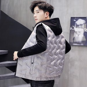 New College Students Down Cotton Vest Male Handsome Winter Wear Large Size Shoulder Loose Coat Sports Jacket With Cap For Warmth