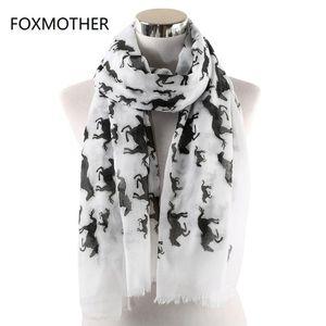 FOXMOTHER White Horse Schal Frauen Schal Wraps Bufanda Mujer Tier Foulard Femme Schals Damen Frühling 2020