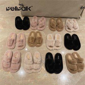 Chinelos Mulheres Mulheres Inverno Casa Sapatos Deslize em Flip Flops Feminino Feminino Cute Bonito Casa Fluffy Slides Senhoras Sandálias Real Plana 20211