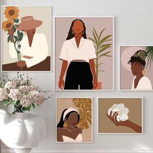 Modern Moda Tuval Boyama Seksi Kız Poster Ve Baskı Duvar Sanatı Resimleri Oturma Odası Ev Dekor Için Siyah Cilt Kadın Hiçbir Çerçeve1