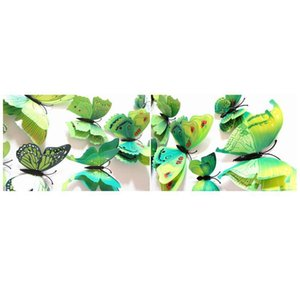 12 adet Renkli Çift Katmanlı Kanatlar 3D Kelebek Duvar Sticker Mıknatıs PVC Kelebekler Parti Çocuk Yatak Odası Buzdolabı Dekor JllyTV