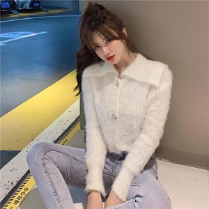 2020 new women's retro big turn down collar mohair wool knitted long sleeve short sweater coat rhinestone buttons patched tops