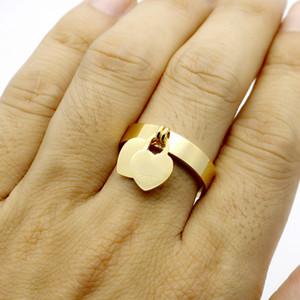 Moda T Rings para Mulheres Design Original Grande Qualidade Mulheres Double Heart Shaped Ring Rápido Drop Shipping 1 Pcs
