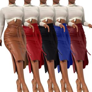 Moda Mujeres PU Cuero Vendaje Falda Señoras Sexy Slit Mediados de longitud High Cintura Zipper Faldas Lápiz Faldas Femeninas Vendaje Slim Vestido Oficina Oficina