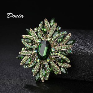 Exaggerated Glass Donia Coat Jewelry Personality Fashion Brooch Four-color Large Pin Winter Scarf Accessories