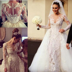 Steven Khalil Sheer O-neck Mermaid Wedding Dresses with Detachable Train 2021 Luxury Lace Beaded Long Sleeve Bridal Gowns vestido