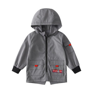 Boys Jacket Spring and Autumn 2020 New Autumn Fashion Childrens Jacket 12 Big Childrens Korean-Style Long Trench Coat Tide