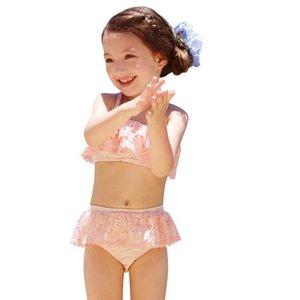 Fashion lace girls swimwear sweet kids swimwear princess swim suits girls bikini kids swimsuits 3pcs set kids bathing suits B2338