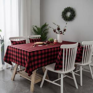 Moderne Plaid rectangulaire en coton rouge Couverture Table Nappe Camp Table carrée-tissu pour Table à manger Décoration de Noël
