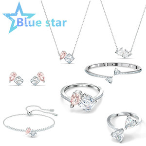 Original 1:1 Double Crystal Attract Soul Set Necklace Bracelet Swarovskis and Ring Fashion Jewelry Ladies Charm