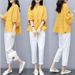 Cotton Linen Women Sets Loose Batwing Sleeve Tops Pants Two Piece Sets Office Female Yellow Shirts White Pants Work Suits