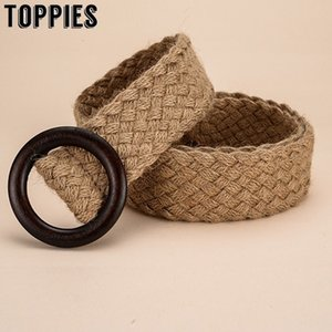 toppies 2020 Cotton and Linen Knitted Belt Mori Dress Belt Korean Style Chic Wood Buckle Women Accessories LJ200921