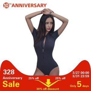 Reißverschluss One Piece Frauen Badeanzug Frau Schwarz Bodysuit Sexy Push Up Damen Schwimmanzug Swimwear T200708