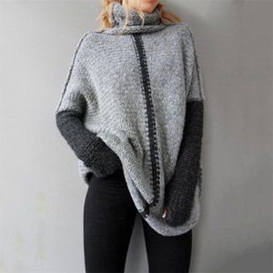 2019 new hot sale womens spring autumn turtleneck loose knitted sweaters women long style pullover sweater
