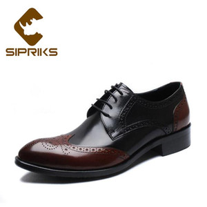 Sipriks Italian Mens Formal Baroque Shoes Classic Wingtip Dress Shoes Suits Male Brogues Business Balck Brown GentS Wedding