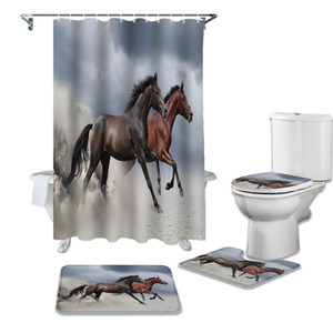 Bathroom Waterproof Shower Curtain Horse Animal Pedestal Rug Lid Carpet Toilet Cover Set Bath Curtain Mat Set Q0121
