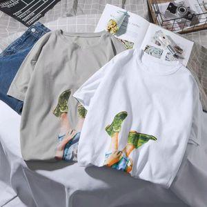Summer New Style Cool Printing Short-sleeved T-shirt Men Korean-style Students Loose-Fit Versatile Crew Neck Short Sleeve Fashio