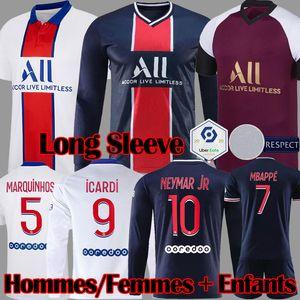 Maillots 2020 2021 MBAPPE ICARDI 긴 소매 축구 유니폼 (20) (21) 축구 셔츠 FLORENZI VERRATTI 키트 아이 KIMPEMBE 마르 키 유니폼