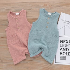New Baby Boy Girl Girl Neck Collas Pagliaccetto Rompere Blu Solid Blue Pink Cottone Biologica Pocket Pocket Tasca neonato Senza maniche Bodysuits Summer Onesies