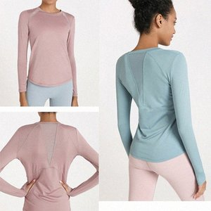 2021 LU Women Yoga sweatshirts Sports Gym Wear Breathable Stretch Tight sleeve shirts LULU Women Athletic Joggers clothes new R5Az#