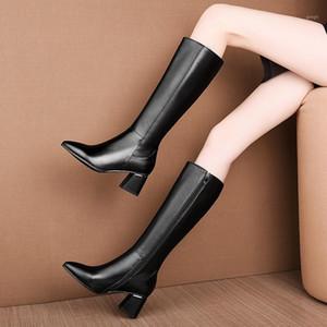 NemaOne черная коричневая натуральная кожа высокие каблуки женщины колено высокие сапоги осень зима базовые сапоги женщины размер 34-45 обувь женщина1