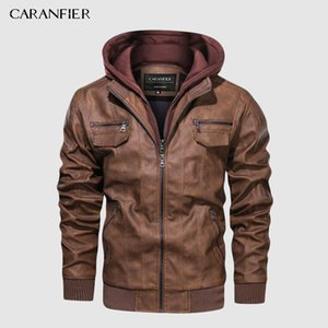 CARANFIER Brand PU Leather Jacket Mens Euro Size S-3XL Hooded Motorcycle Leather Jacket Male Coats Drop Shipping 201022