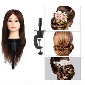 100% cabelo humano real Styling Mannequin Heads Formação hairstyle cabeleireiro manequim cabeça da boneca Feminino Manequins com grampo Titular