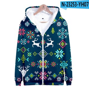 2020 Joyeux Joyeux Noël 3d Hommes Femmes Imprimer Zipper Sweat Hoodies Jumper hiver Harajuku Shirts 2020 Bonne jllEPx bettine2010