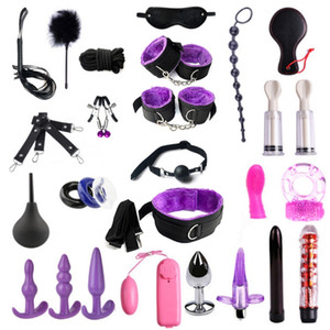 SM 28-Piece Set Flirting Teaching Toys Binding Handcuffs Anklets Goggles Adult Supplies