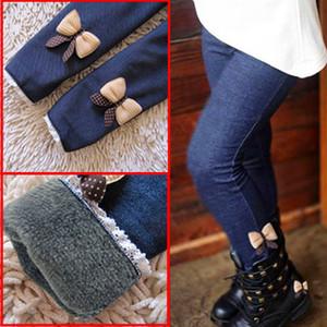 2020 New Velvet Jean Girl Leggings Autumn Winter Children's Cashmere Warm Legging Kids Bow Trousers Elastic Waist Pants Girls