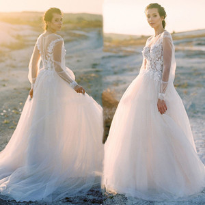 Pretty A Line Country Tulle Wedding Dresses Appliques Floral Lace Illusion Long Sleeves Outdoor Bridal Gowns Sheer Boho Beach Wedding Dress