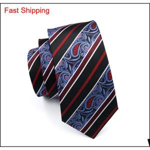 Black Blue Paisey Krawatte HankerCHief Manschettenknöpfe Mens Set Jacquard gewebt Classic 8,5 cm Breite Qylulz Homes2007