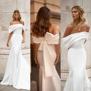 Milla Nova Simple Cheap New Mermaid Wedding Dresses Off Shoulder Crystal Belt Satin Pleats Long Bow Formal Bridal Gowns Robe De Mariée