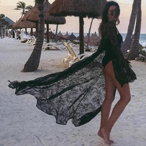 New Women Summer Swimsuit Bikini Cover Up Sexy Beach Cover Up Lace Floral Kimono Long Blouse Elegant Solid Beach Bathing Suit