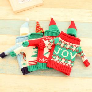 Dhl Бесплатная доставка New High Grade Вязание свитер красного вина крышка 4 Рождество Пивные бутылки аксессуары