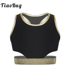 TiaoBug Kids Girls Sleeveless Racer Back Stretchy Workout Crop Tops Performance Dance Costume Ballet Gymnastics Tops Dancewear