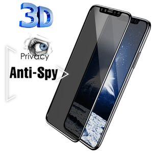 Nuovo 3D Anti Spy Peep Privacy Privacy Proteggi schermo in vetro temperato Anti-PEPEEP TEMPERED GLASS 9H per iPhone Series