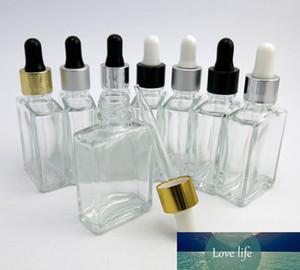 Bottiglia all'ingrosso 10 X 1OZ Cancella Piazza di vetro con contagocce, bottiglia Piccolo 30ML di vetro libera con pipetta contagocce