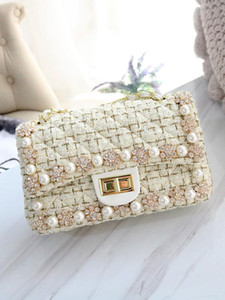 Clutch Wool Shoulder Fashion Handbag Flap Crystal Grid Studded Flower Girl Purse Crossbody Lady With Pearl Bag Diamond Fabric Hrqrt