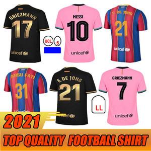 2021 Jersey de futebol 7 Griezmann Fati Martens Semedo Piqué Busquets Men + Kid Kit Camiseta de Fútbol Umtiti Firpo Dembélé