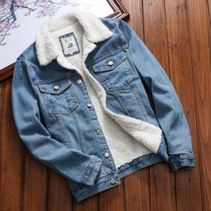 Hot Sales Women Denim Jacket With Fur Vintage Long Sleeve Loose Jeans Coat Outwear Women Autumn Winter Denim Warm Upset Jacket
