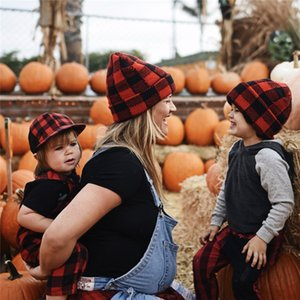 Parent-child Beanie Hat Christmas Red Plaid Winter Warm Knit Hat with Pom Pom Baby Moms Crochet Hats Outdoor Adult Kids Skull Caps E102002