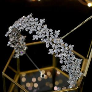 Luxo - Alta Qualidade Cristal Noiva Headband Banda de Cabelo 100% Zircônia Jóias Femininas Acessórios De Cabelo De Casamento Tiara Crown Y200727