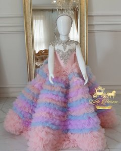 2020 Colorful Luxurious Sexy Flower Girl Dresses Lace Crystals Tiers Little Girl Wedding Dresses Cheap Communion Pageant Dresses Gowns F3185