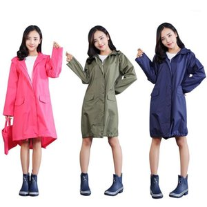 Women Solid Color Long Sleeve Hooded Raincoat Windproof Jacket Poncho Handbag Waterproof Breathable Poncho1