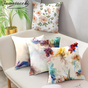 Fuwatacchi Watercolor Floral Cushion Cover Leaf Flower Throw Pillow Case for Home Car Sofa Bed Decorative Pillows Cover 45*45cm