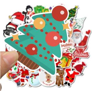 Árbol de Navidad de Navidad 50pcs pared pegatinas decoración del hogar de Santa Claus pintada del ordenador portátil a prueba de agua regalos Monopatín del partido G2 4 5SL