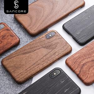 SanCore الأصل ريال الخشب الغلاف روزوود الهاتف شل للترف فون X XS ماكس الطبيعية نمط خشبي الجوز حالة وقائية