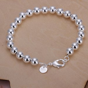 wholesale high quality fashion Silver color Jewelry charm 8MM chain bead Bracelets H126 couple bracelet gifts for women wedding